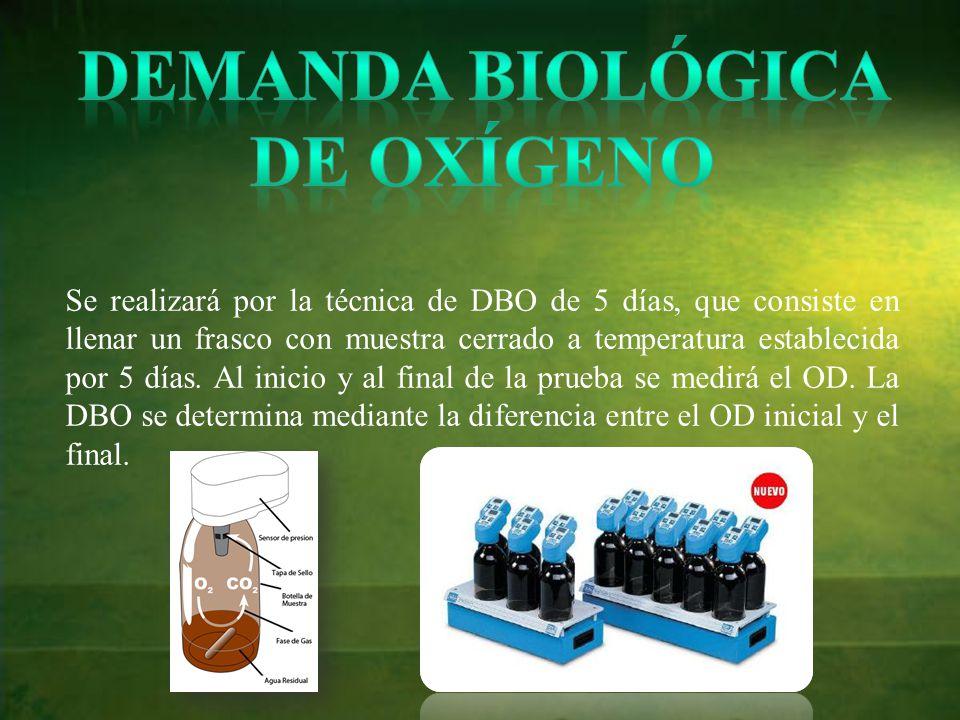 Se realizará por la técnica de DBO de 5 días, que consiste en llenar un frasco con muestra cerrado a temperatura establecida por 5 días.