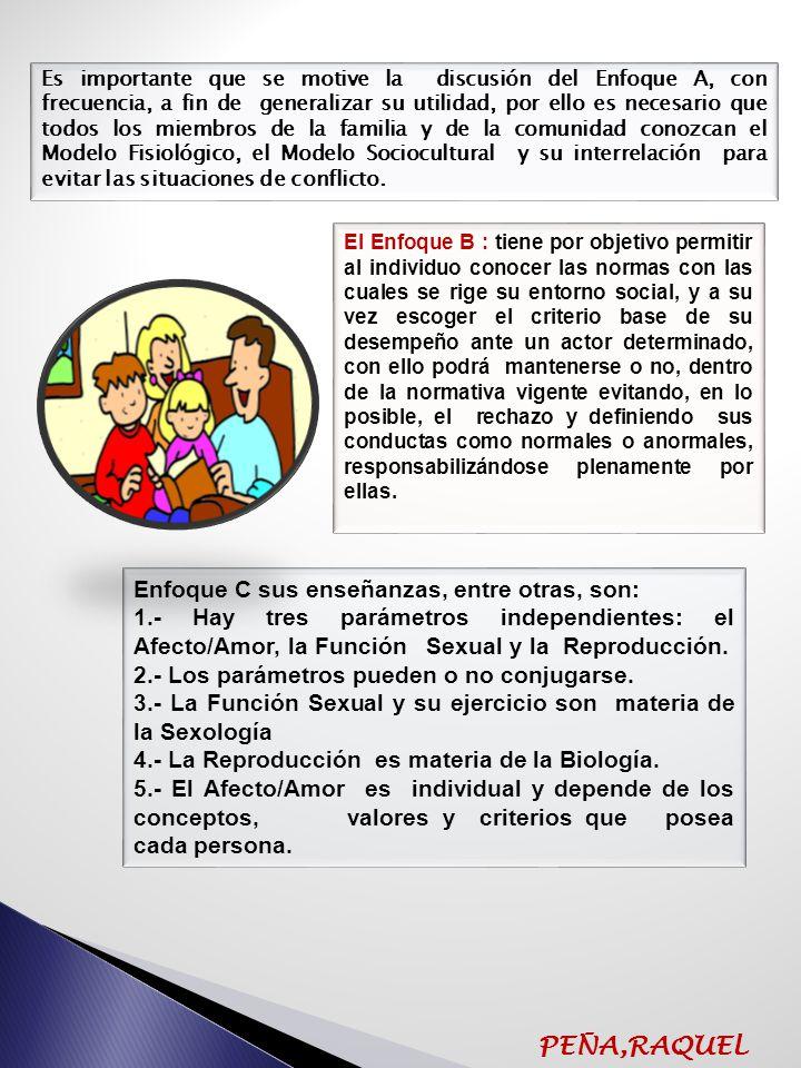 ENFOQUES DOCTRINARIOS DE LA ESCUELA BIANCO (1992) Enfoque A: Modelo Fisiológico vs Modelo Sociocultural Enfoque B: Criterio de Normalidad Enfoque C: Función del Afecto/Amor-Función Sexual- Función de Reproducción Enfoque D: Parejas sobre la base de la Función del Afecto/Amor y de la Función Sexual Enfoque E: Roles o Papeles Enfoque F: Objetivos y Metas Enfoque G: Toma de Decisiones PEÑA,RAQUEL