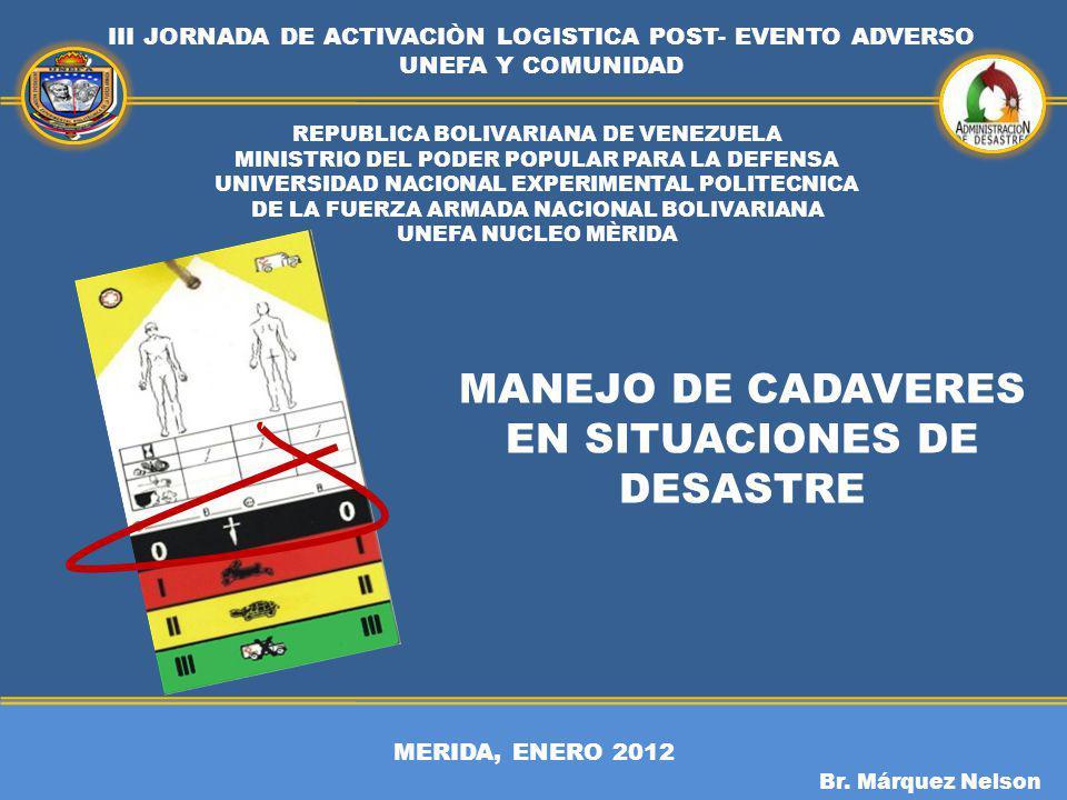 MERIDA, ENERO 2012 III JORNADA DE ACTIVACIÒN LOGISTICA POST- EVENTO ADVERSO UNEFA Y COMUNIDAD Br. Márquez Nelson REPUBLICA BOLIVARIANA DE VENEZUELA MI