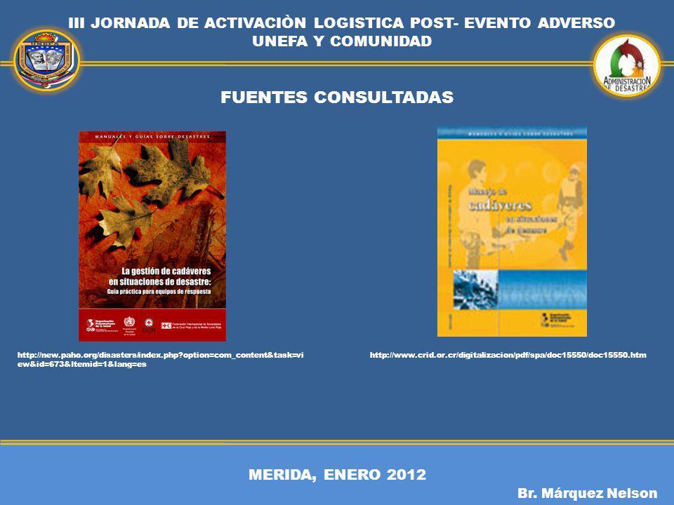 MERIDA, ENERO 2012 III JORNADA DE ACTIVACIÒN LOGISTICA POST- EVENTO ADVERSO UNEFA Y COMUNIDAD Br. Márquez Nelson FUENTES CONSULTADAS http://www.crid.o