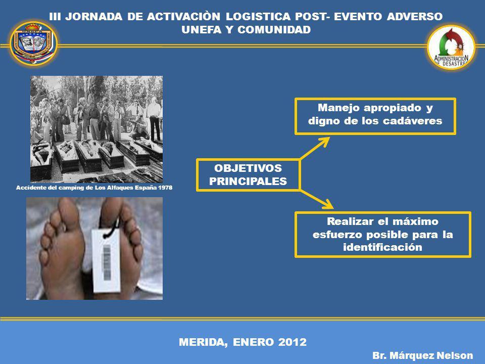 MERIDA, ENERO 2012 III JORNADA DE ACTIVACIÒN LOGISTICA POST- EVENTO ADVERSO UNEFA Y COMUNIDAD Br. Márquez Nelson OBJETIVOS PRINCIPALES Manejo apropiad