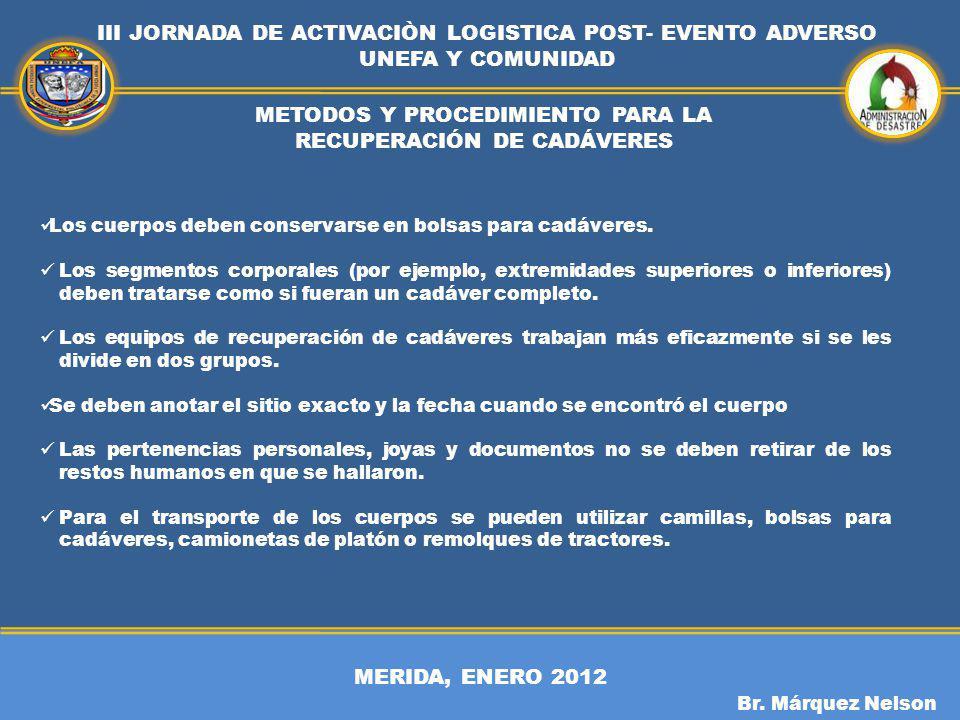 MERIDA, ENERO 2012 III JORNADA DE ACTIVACIÒN LOGISTICA POST- EVENTO ADVERSO UNEFA Y COMUNIDAD Br. Márquez Nelson METODOS Y PROCEDIMIENTO PARA LA RECUP