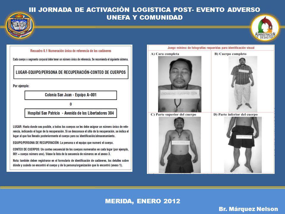 MERIDA, ENERO 2012 III JORNADA DE ACTIVACIÒN LOGISTICA POST- EVENTO ADVERSO UNEFA Y COMUNIDAD Br. Márquez Nelson