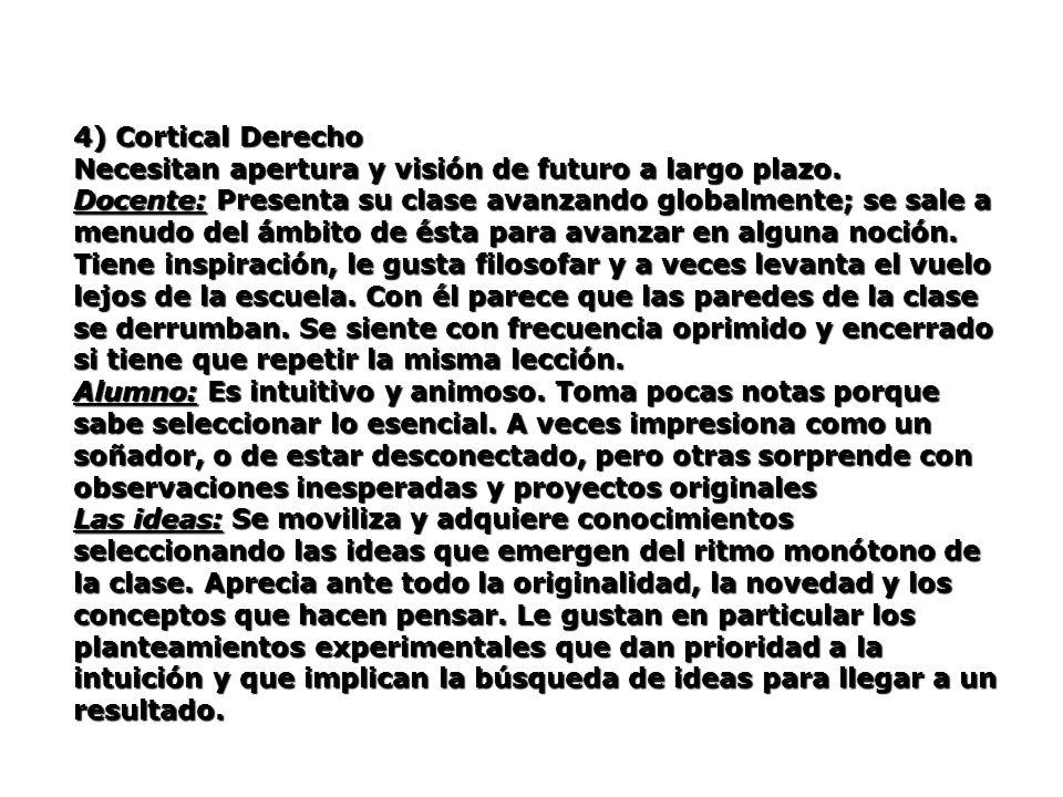4) Cortical Derecho Necesitan apertura y visión de futuro a largo plazo. Docente: Presenta su clase avanzando globalmente; se sale a menudo del ámbito