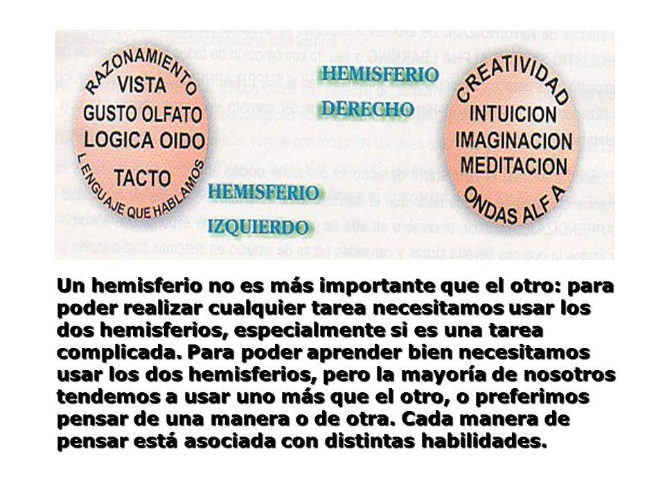 Un hemisferio no es más importante que el otro: para poder realizar cualquier tarea necesitamos usar los dos hemisferios, especialmente si es una tare