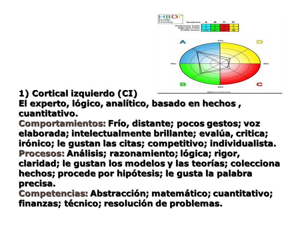 1) Cortical izquierdo (CI) El experto, lógico, analítico, basado en hechos, cuantitativo. Comportamientos: Frío, distante; pocos gestos; voz elaborada