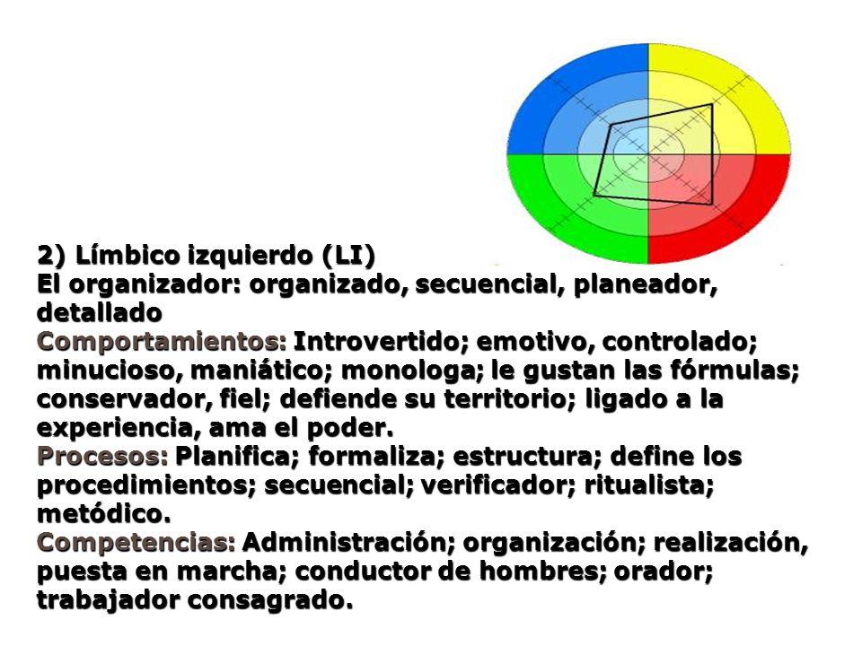 2) Límbico izquierdo (LI) El organizador: organizado, secuencial, planeador, detallado Comportamientos: Introvertido; emotivo, controlado; minucioso,