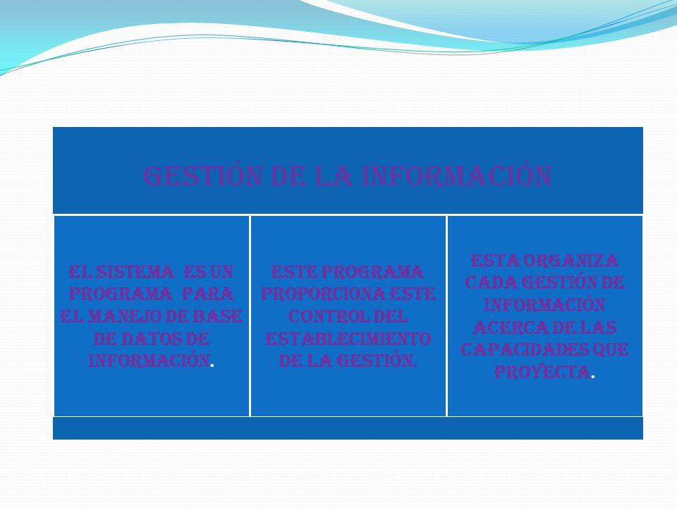 Gestión de la información El sistema es un programa para el manejo de base de datos de información.