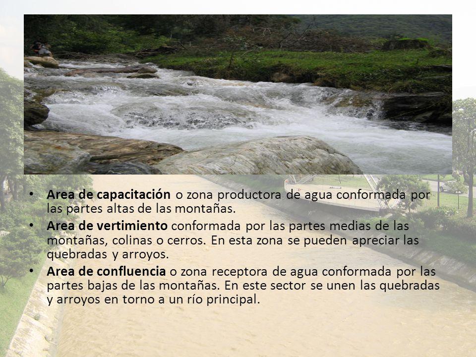 Area de capacitación o zona productora de agua conformada por las partes altas de las montañas. Area de vertimiento conformada por las partes medias d