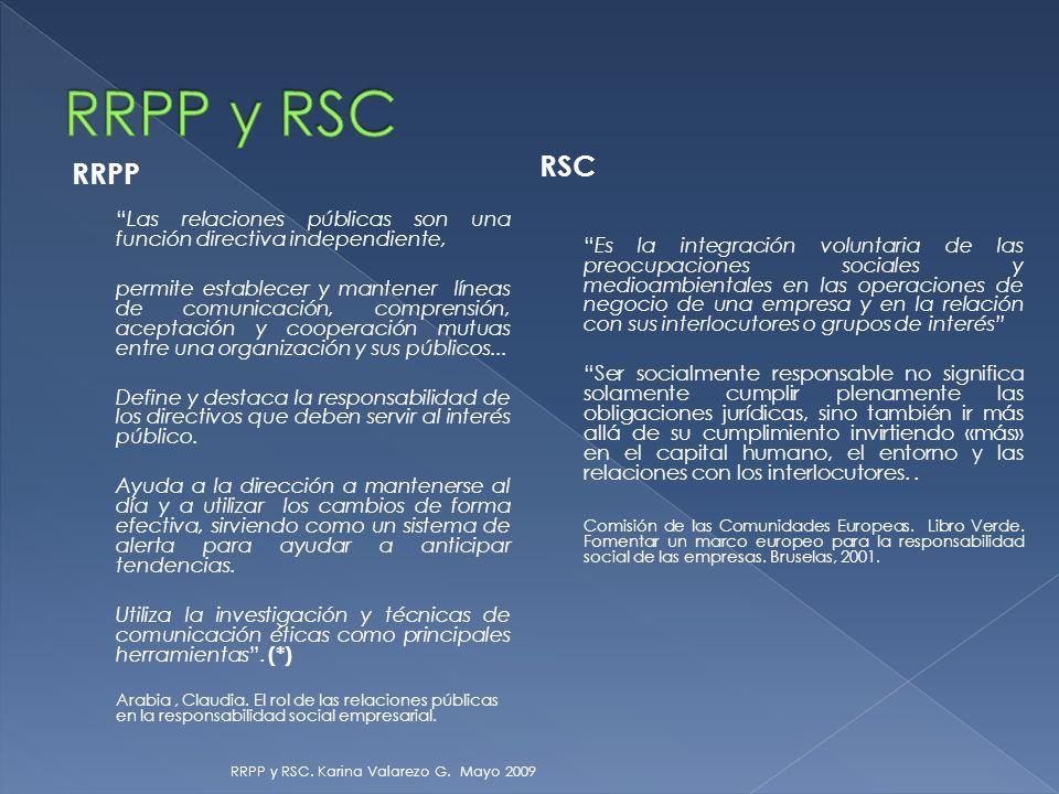 RRPP Las relaciones públicas son una función directiva independiente, permite establecer y mantener líneas de comunicación, comprensión, aceptación y cooperación mutuas entre una organización y sus públicos...