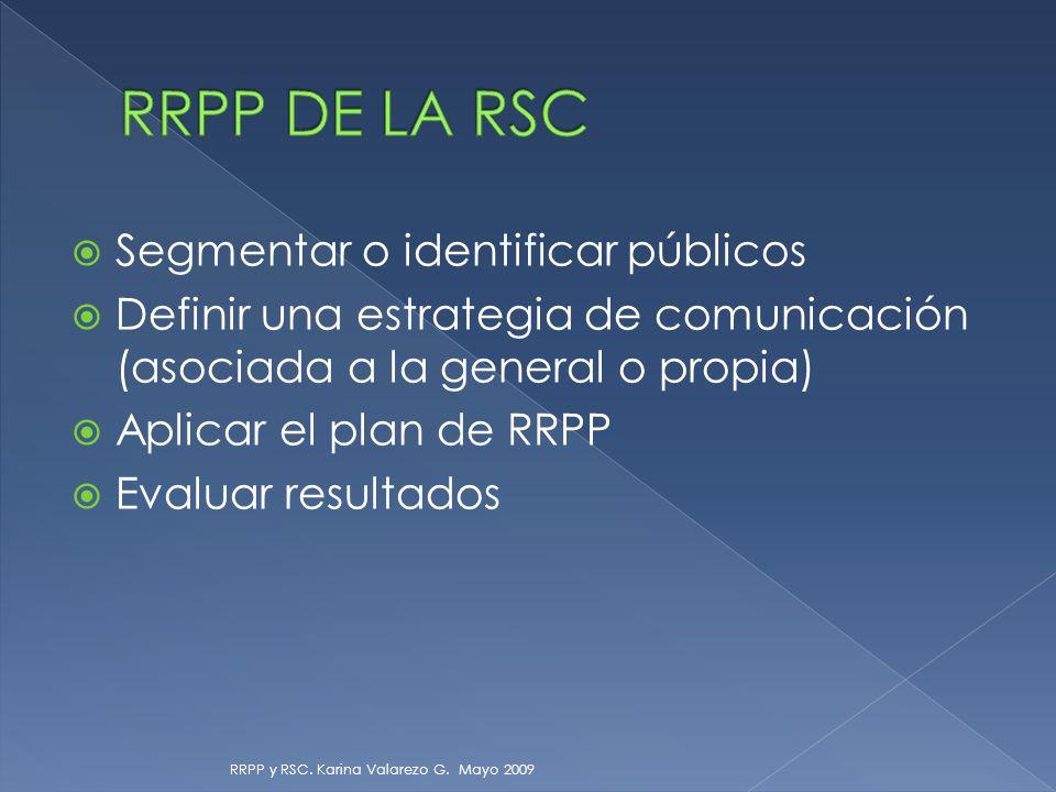 Segmentar o identificar públicos Definir una estrategia de comunicación (asociada a la general o propia) Aplicar el plan de RRPP Evaluar resultados RRPP y RSC.