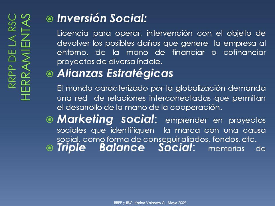Inversión Social: Licencia para operar, intervención con el objeto de devolver los posibles daños que genere la empresa al entorno, de la mano de financiar o cofinanciar proyectos de diversa índole.