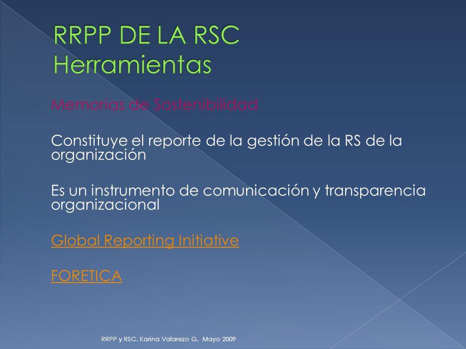 Memorias de Sostenibilidad Constituye el reporte de la gestión de la RS de la organización Es un instrumento de comunicación y transparencia organizacional Global Reporting Initiative FORETICA RRPP y RSC.