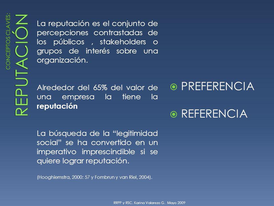 La reputación es el conjunto de percepciones contrastadas de los públicos, stakeholders o grupos de interés sobre una organización.