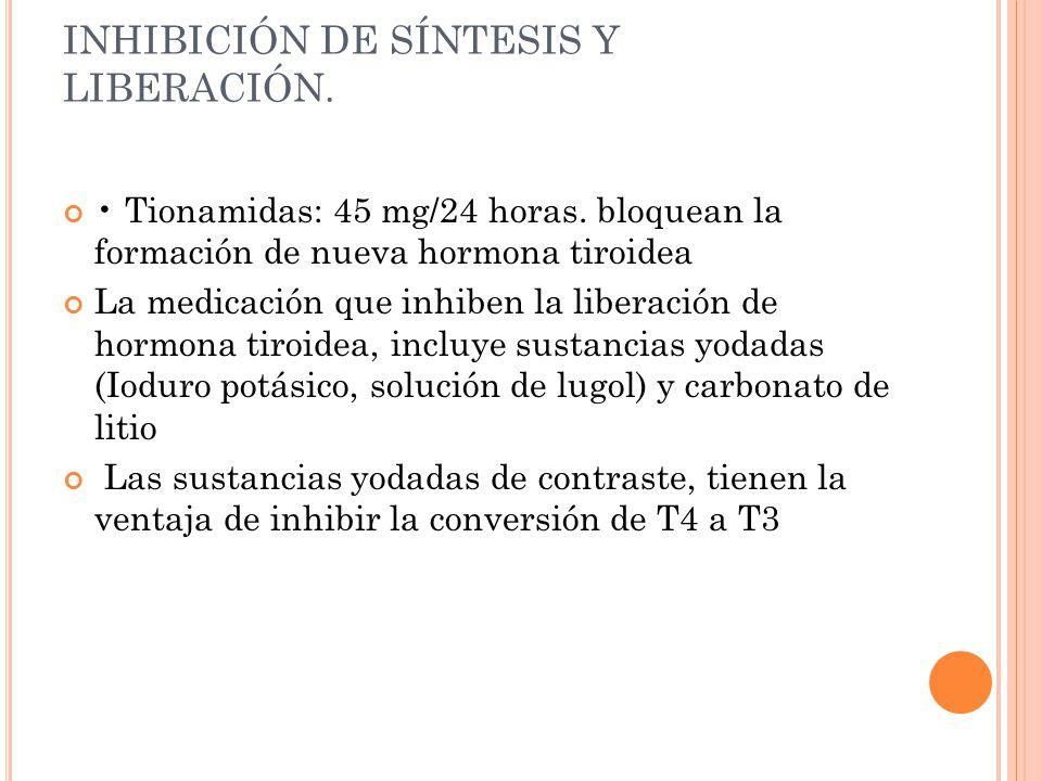 INHIBICIÓN DE SÍNTESIS Y LIBERACIÓN. Tionamidas: 45 mg/24 horas. bloquean la formación de nueva hormona tiroidea La medicación que inhiben la liberaci