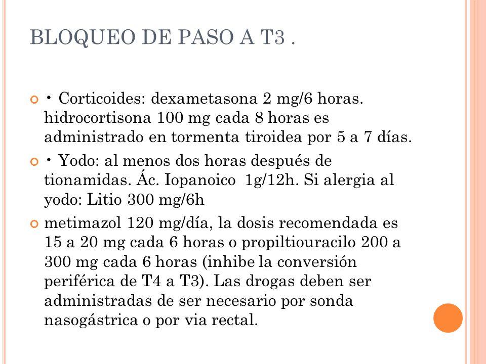 BLOQUEO DE PASO A T3. Corticoides: dexametasona 2 mg/6 horas. hidrocortisona 100 mg cada 8 horas es administrado en tormenta tiroidea por 5 a 7 días.