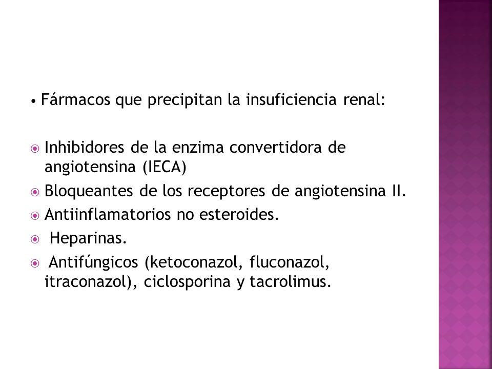 Fármacos que precipitan la insuficiencia renal: Inhibidores de la enzima convertidora de angiotensina (IECA) Bloqueantes de los receptores de angioten