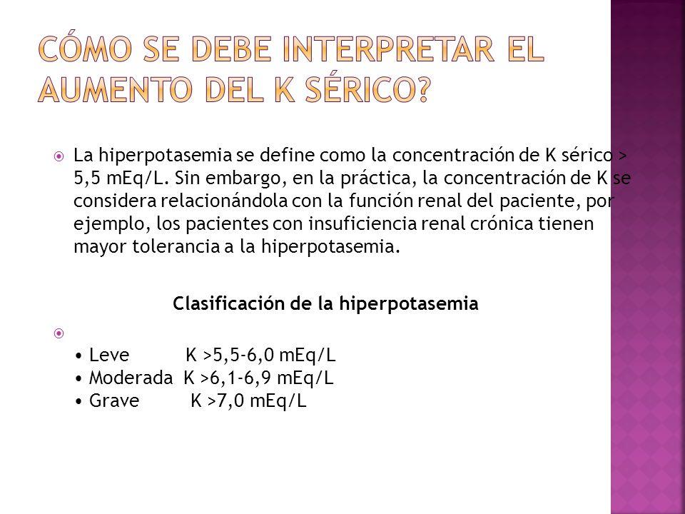 La hiperpotasemia se define como la concentración de K sérico > 5,5 mEq/L. Sin embargo, en la práctica, la concentración de K se considera relacionánd