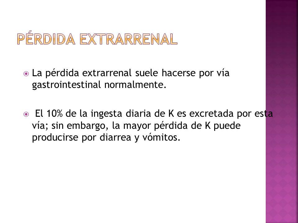 La pérdida extrarrenal suele hacerse por vía gastrointestinal normalmente. El 10% de la ingesta diaria de K es excretada por esta vía; sin embargo, la