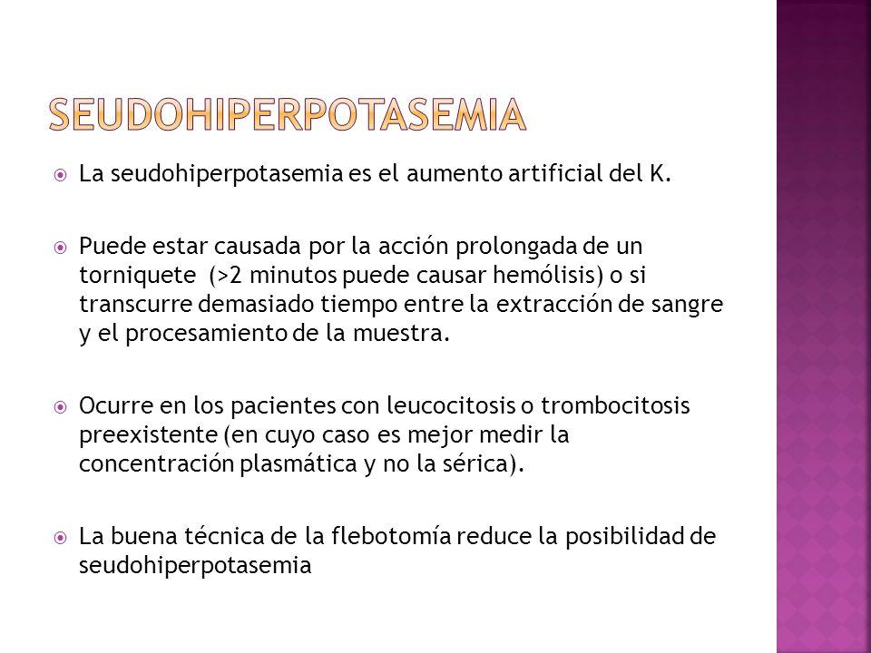 La seudohiperpotasemia es el aumento artificial del K. Puede estar causada por la acción prolongada de un torniquete (>2 minutos puede causar hemólisi