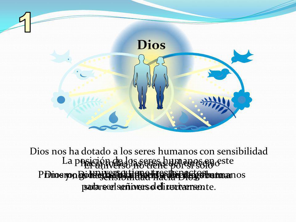 La posición de los seres humanos en este universo tiene tres aspectos. Primero, Dios nos ha dotado a los seres humanos para ser señores del universo.