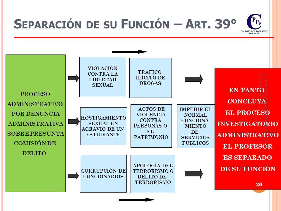 25 CESE TEMPORAL EN EL CARGO sin goce de remuneraciones desde 31 días hasta doce (12) meses Previo Proceso Administrativo A RT.