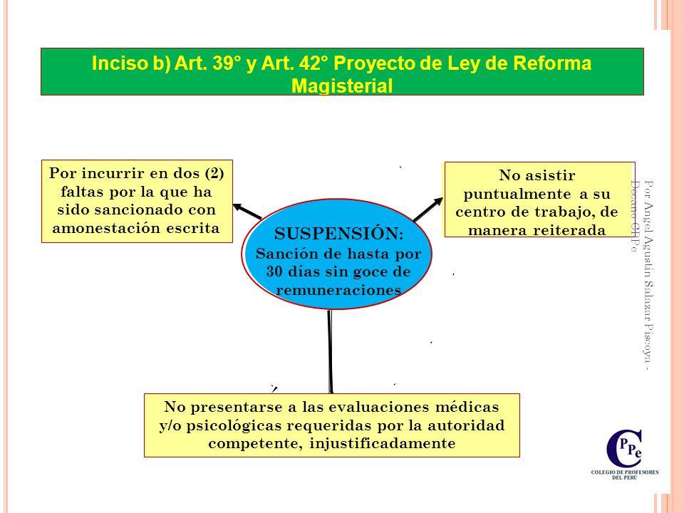 Art. 41°: Causales de amonestación escrita Incumplimiento de los deberes, obligaciones y prohibiciones en el ejercicio de la función docente debidamen