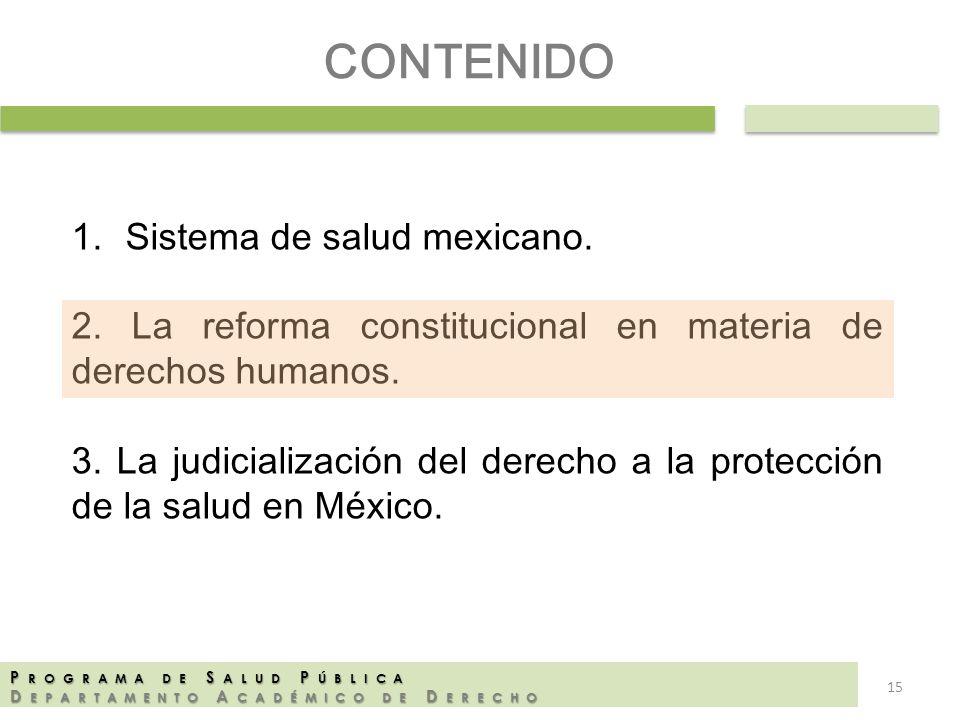 P ROGRAMA DE S ALUD P ÚBLICA D EPARTAMENTO A CADÉMICO DE D ERECHO CONTENIDO 1.Sistema de salud mexicano. 2. La reforma constitucional en materia de de