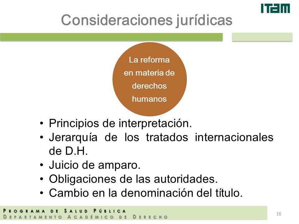 Consideraciones jurídicas La reforma en materia de derechos humanos P ROGRAMA DE S ALUD P ÚBLICA D EPARTAMENTO A CADÉMICO DE D ERECHO Principios de in