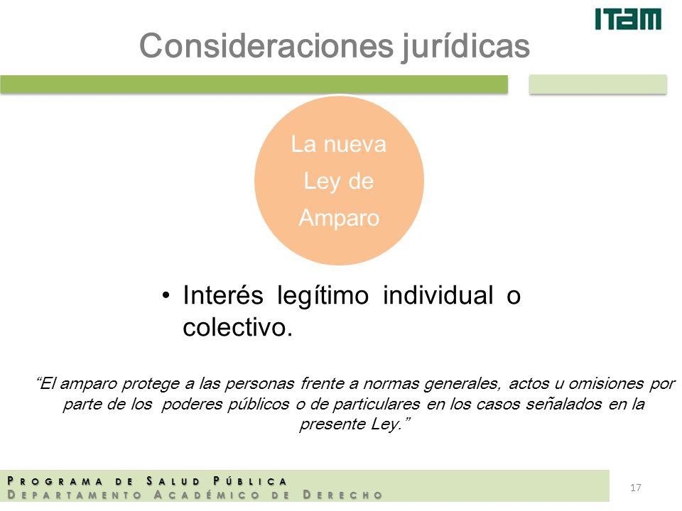 La nueva Ley de Amparo P ROGRAMA DE S ALUD P ÚBLICA D EPARTAMENTO A CADÉMICO DE D ERECHO Interés legítimo individual o colectivo. El amparo protege a