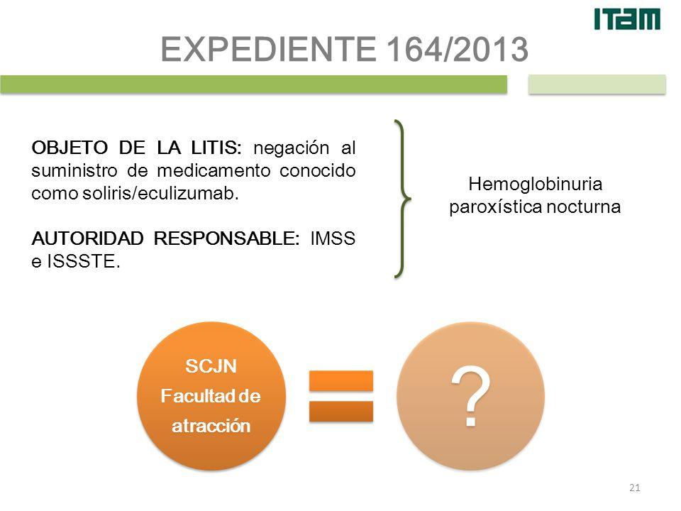 OBJETO DE LA LITIS: negación al suministro de medicamento conocido como soliris/eculizumab. AUTORIDAD RESPONSABLE: IMSS e ISSSTE. EXPEDIENTE 164/2013