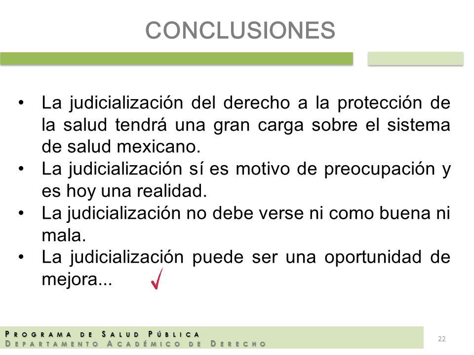 P ROGRAMA DE S ALUD P ÚBLICA D EPARTAMENTO A CADÉMICO DE D ERECHO CONCLUSIONES La judicialización del derecho a la protección de la salud tendrá una g