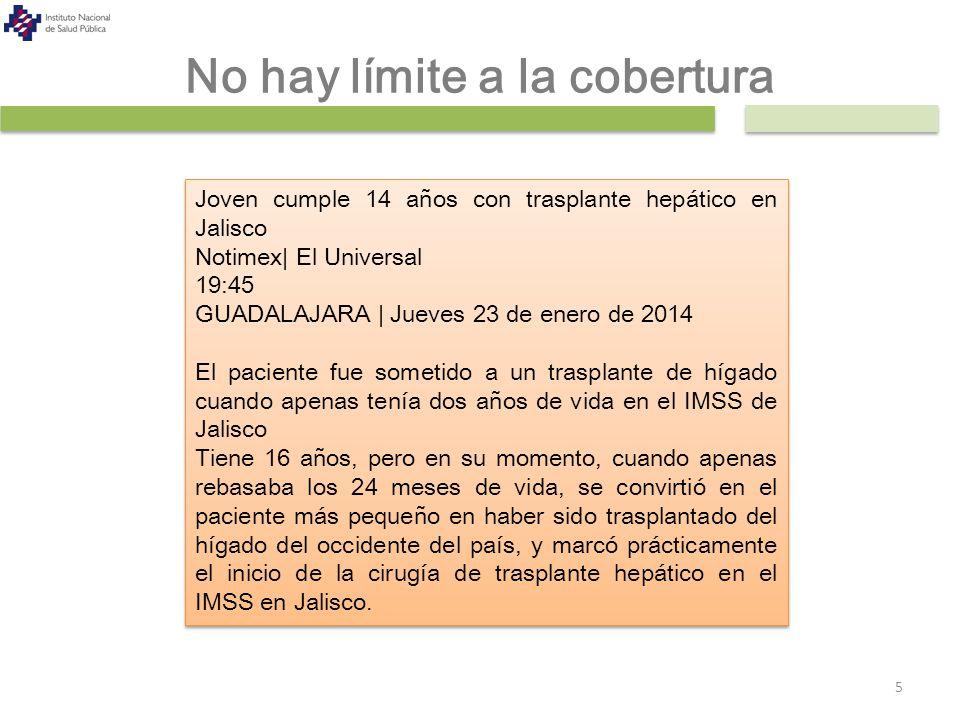 No hay límite a la cobertura 5 Joven cumple 14 años con trasplante hepático en Jalisco Notimex| El Universal 19:45 GUADALAJARA | Jueves 23 de enero de