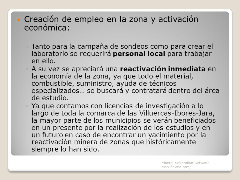Creación de empleo en la zona y activación económica: Tanto para la campaña de sondeos como para crear el laboratorio se requerirá personal local para