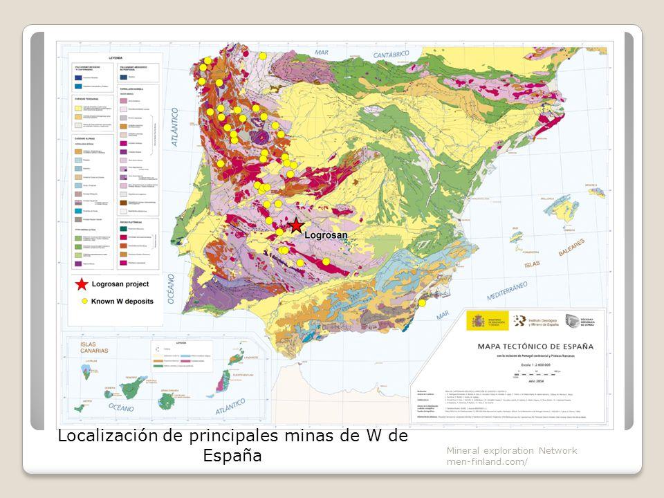 Mineral exploration Network men-finland.com/ Localización de principales minas de W de España