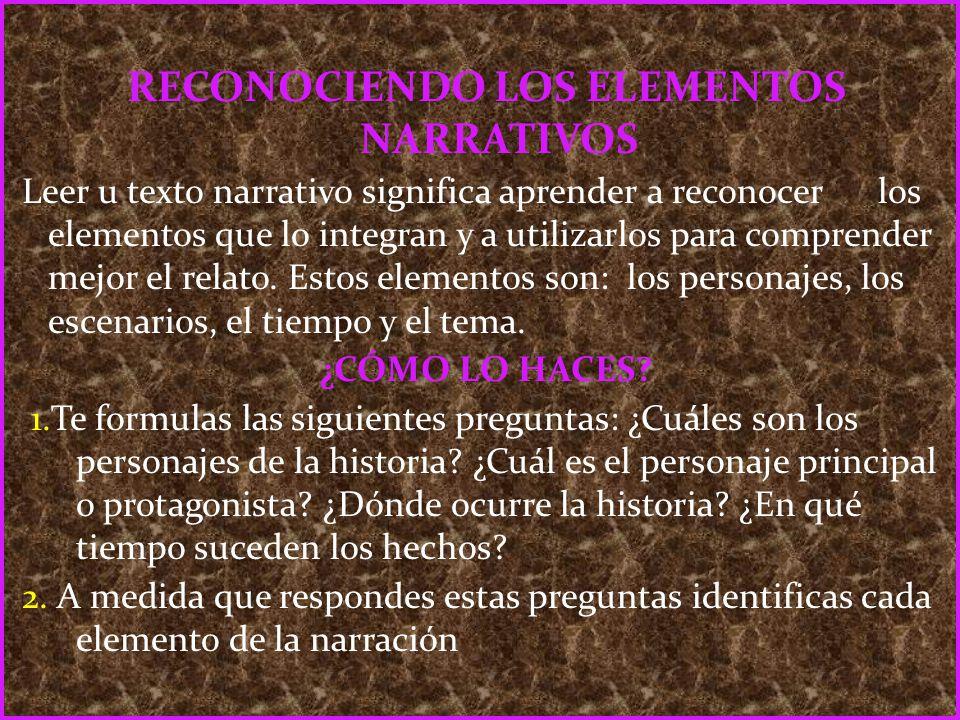 RECONOCIENDO LOS ELEMENTOS NARRATIVOS Leer u texto narrativo significa aprender a reconocer los elementos que lo integran y a utilizarlos para compren