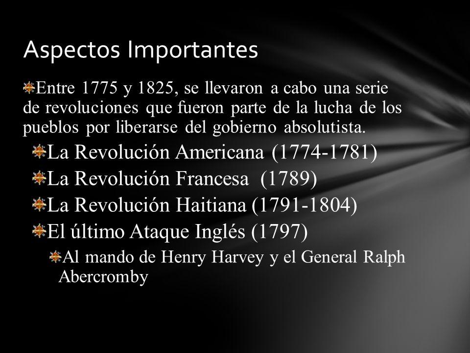 Entre 1775 y 1825, se llevaron a cabo una serie de revoluciones que fueron parte de la lucha de los pueblos por liberarse del gobierno absolutista. La