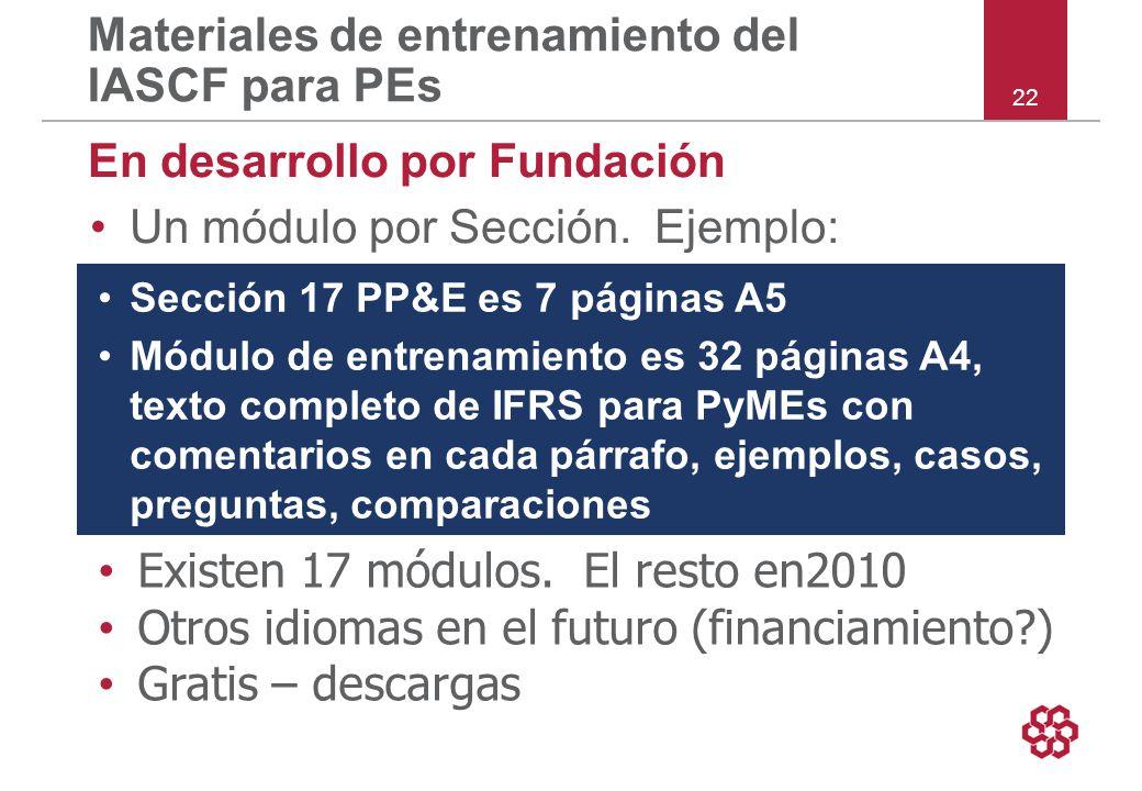 22 Materiales de entrenamiento del IASCF para PEs En desarrollo por Fundación Un módulo por Sección.