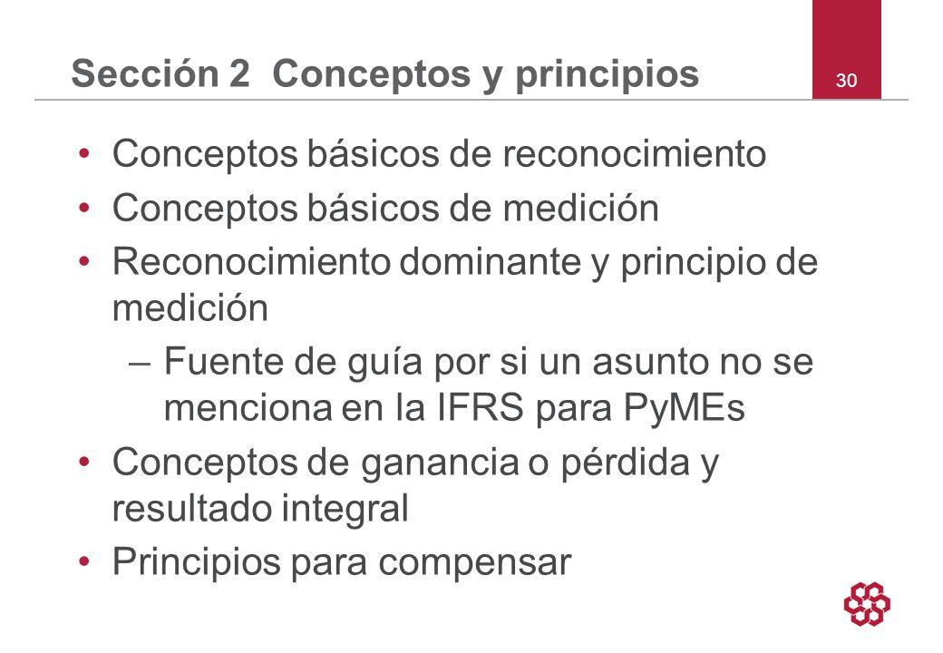 30 Sección 2 Conceptos y principios Conceptos básicos de reconocimiento Conceptos básicos de medición Reconocimiento dominante y principio de medición –Fuente de guía por si un asunto no se menciona en la IFRS para PyMEs Conceptos de ganancia o pérdida y resultado integral Principios para compensar