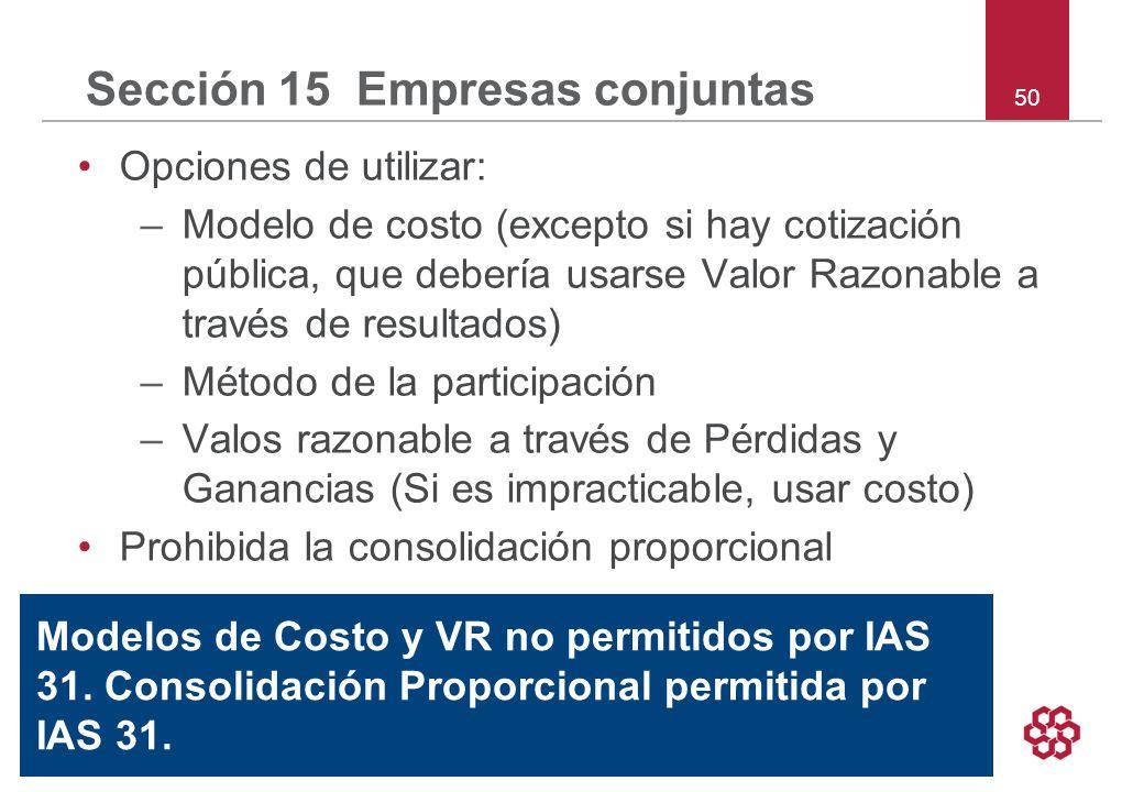 50 Sección 15 Empresas conjuntas Opciones de utilizar: –Modelo de costo (excepto si hay cotización pública, que debería usarse Valor Razonable a través de resultados) –Método de la participación –Valos razonable a través de Pérdidas y Ganancias (Si es impracticable, usar costo) Prohibida la consolidación proporcional Modelos de Costo y VR no permitidos por IAS 31.
