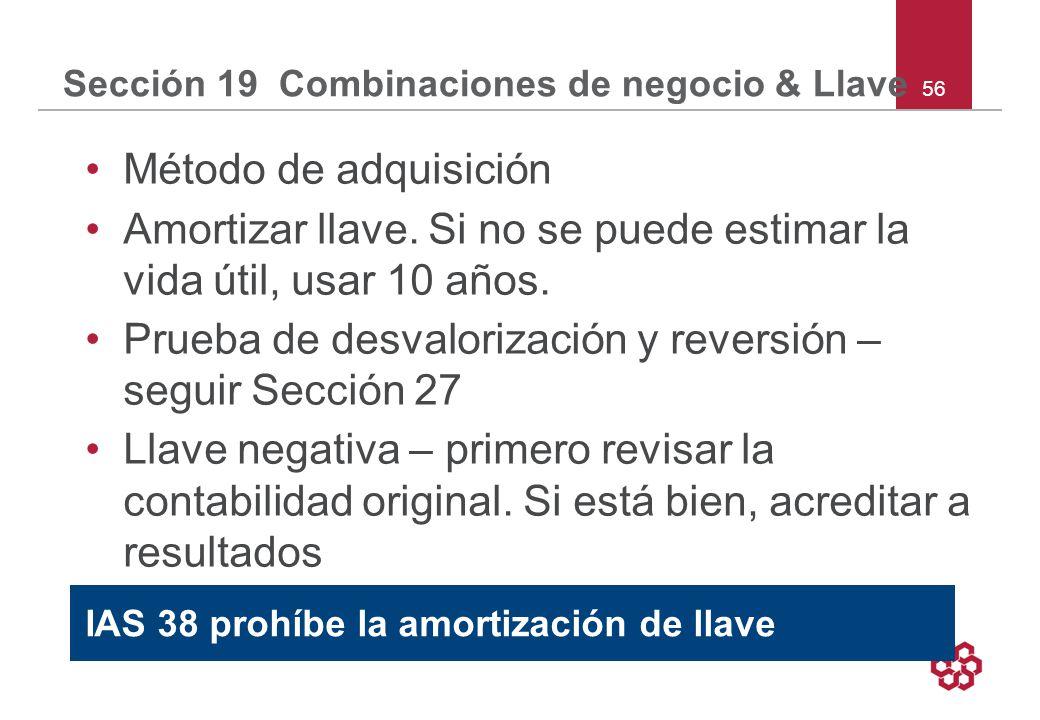 56 Sección 19 Combinaciones de negocio & Llave Método de adquisición Amortizar llave.