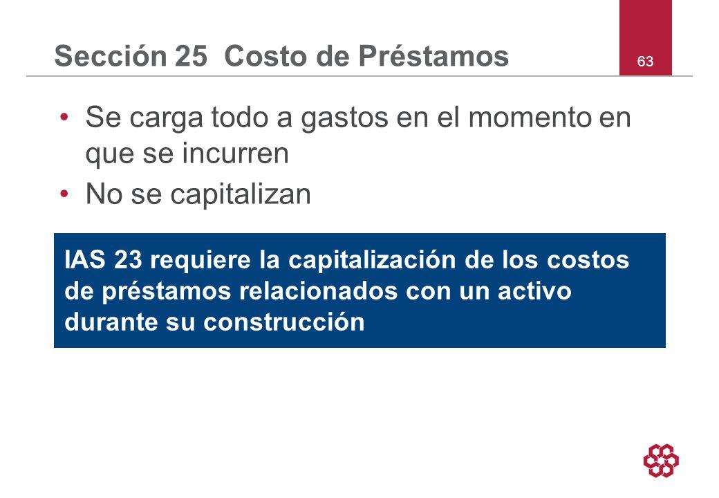 63 Sección 25 Costo de Préstamos Se carga todo a gastos en el momento en que se incurren No se capitalizan IAS 23 requiere la capitalización de los costos de préstamos relacionados con un activo durante su construcción