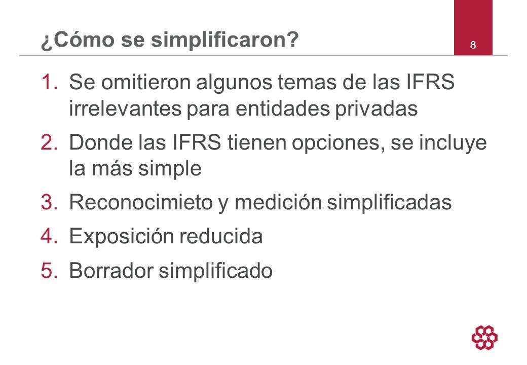39 Sección 7 Estado de flujos de caja Todas PyMEs deben presentar un estado de flujos de caja Opción de usar el –método indirecto, o –método directo Para presentar los flujos de caja operativos