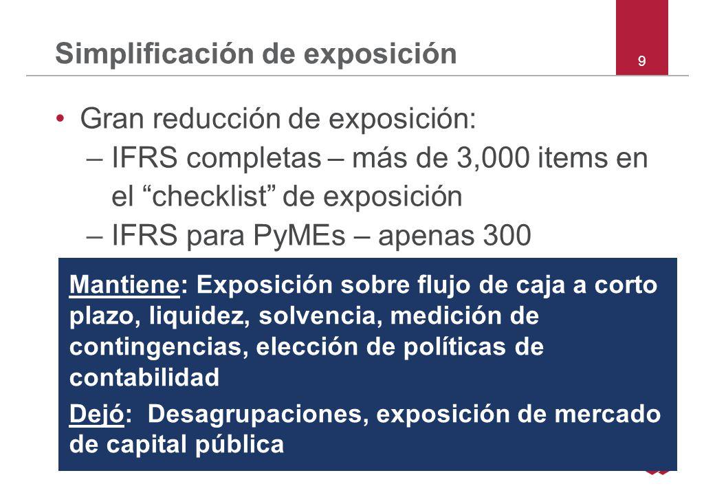 40 Sección 8 Notas Expone la preparación básica (ej IFRS para PyMEs) Resumen de las políticas contables significativas –Incluye información sobre juicios y fuentes clave de estimación de contingencias Información de apoyo para ítems de los estados financieros Otras exposiciones