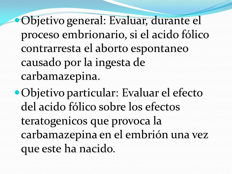 Objetivo general: Evaluar, durante el proceso embrionario, si el acido fólico contrarresta el aborto espontaneo causado por la ingesta de carbamazepin