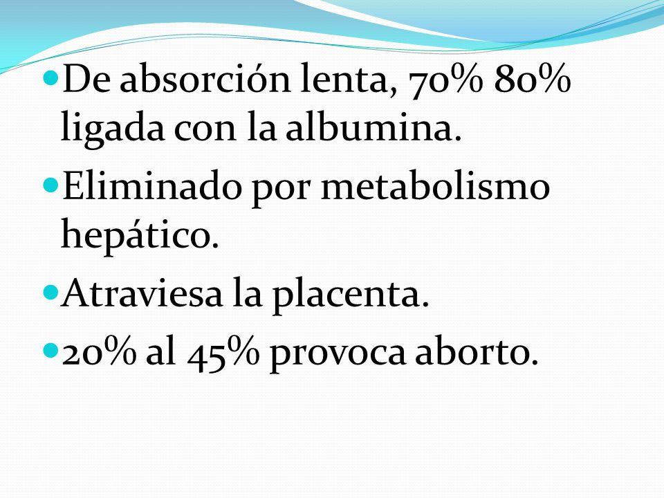 De absorción lenta, 70% 80% ligada con la albumina. Eliminado por metabolismo hepático. Atraviesa la placenta. 20% al 45% provoca aborto.