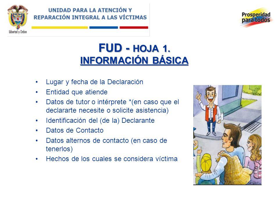 FUD - HOJA 1. INFORMACIÓN BÁSICA Lugar y fecha de la Declaración Entidad que atiende Datos de tutor o intérprete *(en caso que el declararte necesite