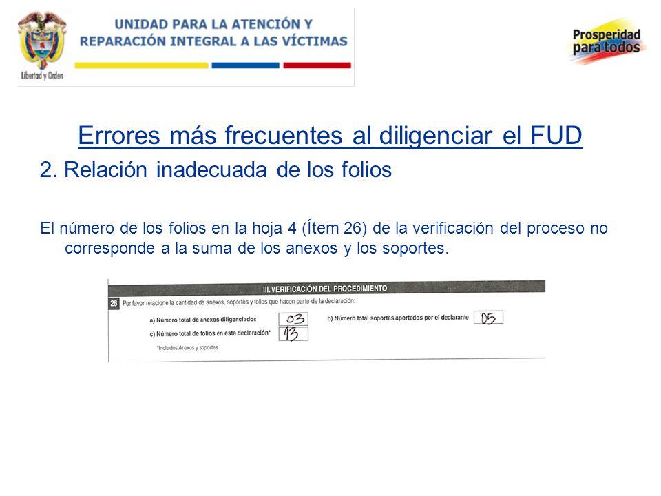 Errores más frecuentes al diligenciar el FUD 2. Relación inadecuada de los folios El número de los folios en la hoja 4 (Ítem 26) de la verificación de