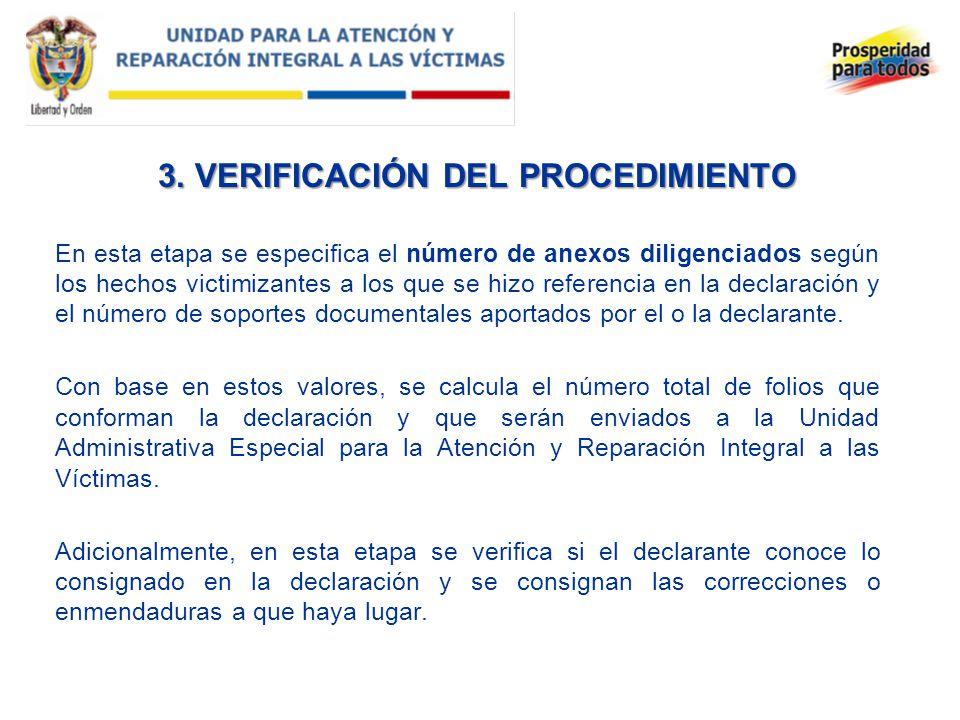 3. VERIFICACIÓN DEL PROCEDIMIENTO En esta etapa se especifica el número de anexos diligenciados según los hechos victimizantes a los que se hizo refer