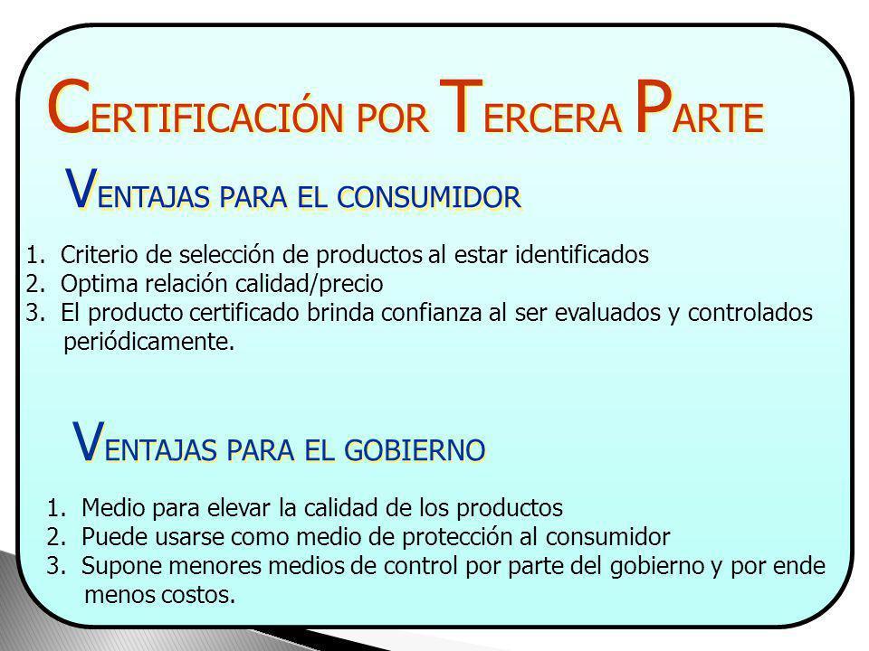 C ERTIFICACIÓN POR T ERCERA P ARTE V ENTAJAS PARA EL FABRICANTE 1. Verifica la implementación de un sistema de calidad 2. Promueve la compra de sus pr